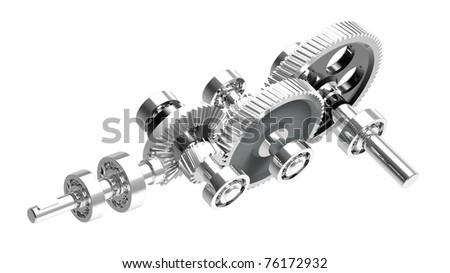 Mechanism concept 3d render of a speed reducer - stock photo