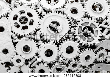 Mechanism gears and cogs for background. - stock photo