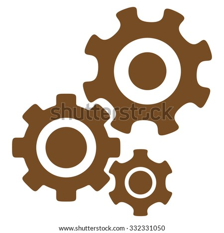 Mechanism glyph icon. Style is flat symbol, brown color, rounded angles, white background. - stock photo