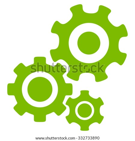 Mechanism glyph icon. Style is flat symbol, eco green color, rounded angles, white background. - stock photo