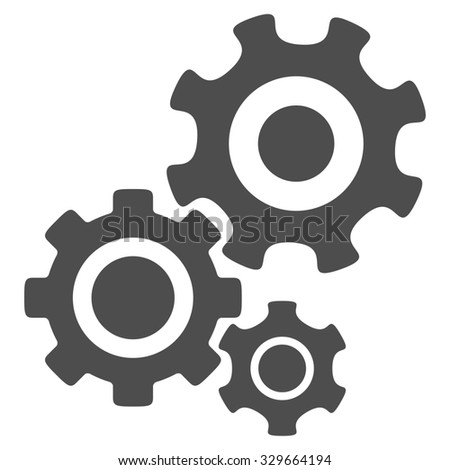 Mechanism glyph icon. Style is flat symbol, gray color, rounded angles, white background. - stock photo