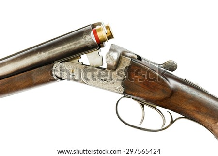 Mechanism of hunting rifle close-up, isolated on white - stock photo