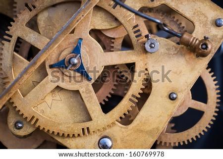 Mechanism of old clock - stock photo