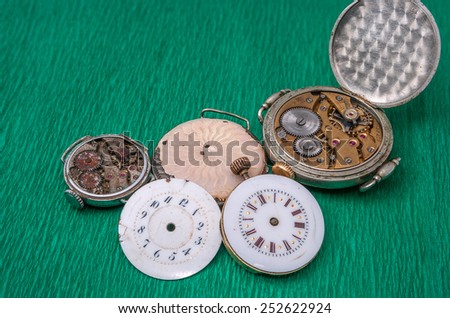 Mechanism of old clock - stock photo