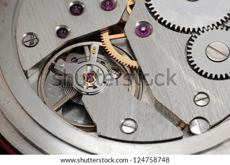 Mechanism of old watch close up