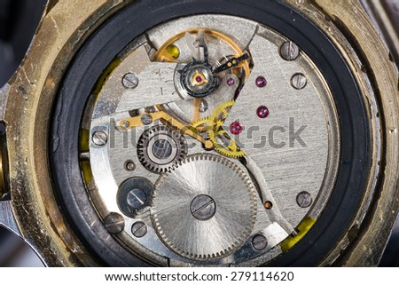 Mechanism of old wristwatches - stock photo