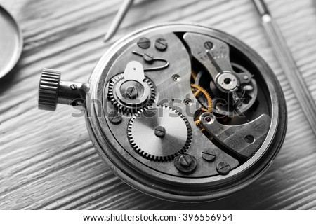 Mechanism of retro watch closeup
