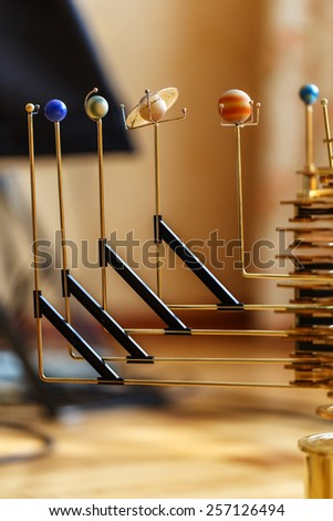 mechanism of the solar system planets - stock photo
