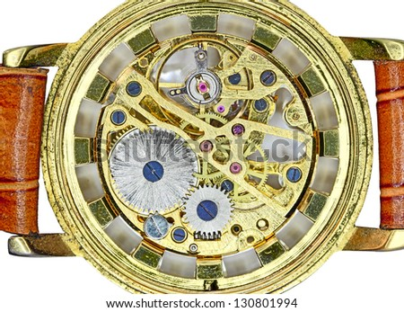 mechanism  old watch - stock photo