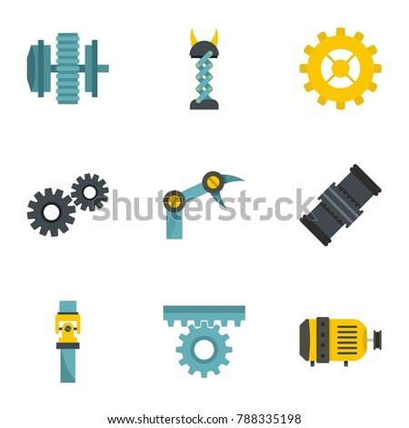 Mechanism parts icon set. Flat style set of 9 mechanism parts  icons for web isolated on white background