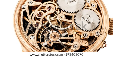 mechanisms clock on a white background - stock photo