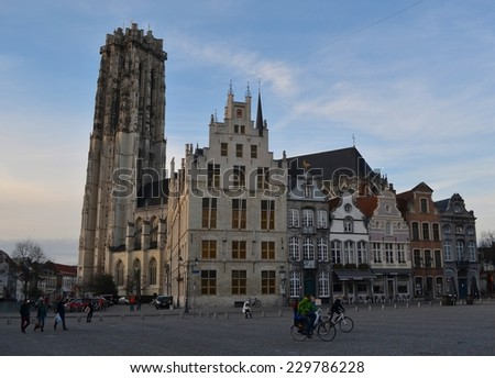 MECHELEN, BELGIUM, JANUARY 19, 2014:View of the saint rumbolds  cathedral and the main square in belgian mechelen.