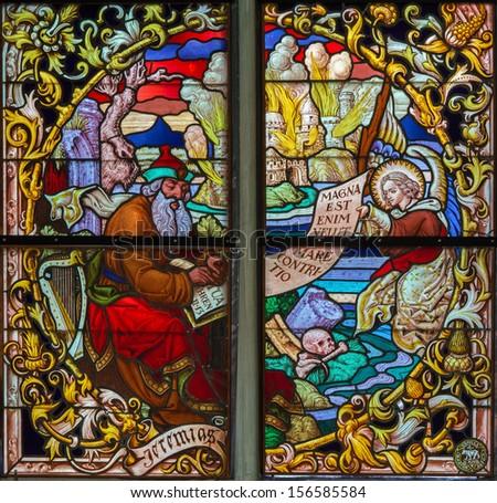 MECHELEN, BELGIUM - SEPTEMBER 6: Prophet Jeremiah from windowpane of St. Rumbold's cathedral on Sepetember 6, 2013 in Mechelen, Belgium.  - stock photo
