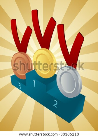 Medal award winners, medallions on a pedestal - stock photo