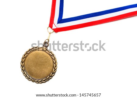 Medal on a red, white and blue ribbon