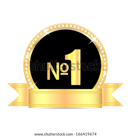 medal with number one and golden ribbon isolated on white background.award in gold with brilliant stones.raster - stock photo