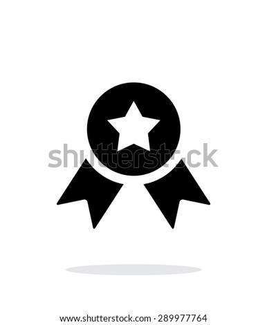 Medal with star simple icon on white background. - stock photo