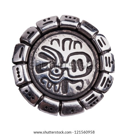 Medallion of the character with the Mayan calendar on a white background - stock photo