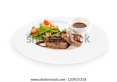 medallions of beef. isolated on white background - stock photo