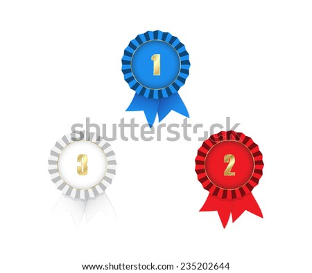 medals with ribbons 1st 2nd 3rd place red white and blue on a white background - stock photo