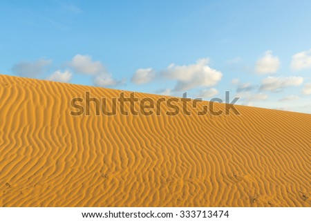 Medanos de Coro National Park desert in Falcon State, Venezuela, on a sunny day with blue skies.