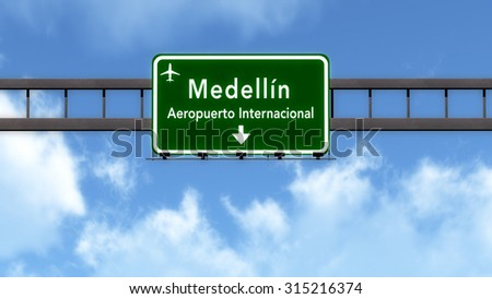 Medellin Colombia Airport Highway Road Sign 3D Illustration