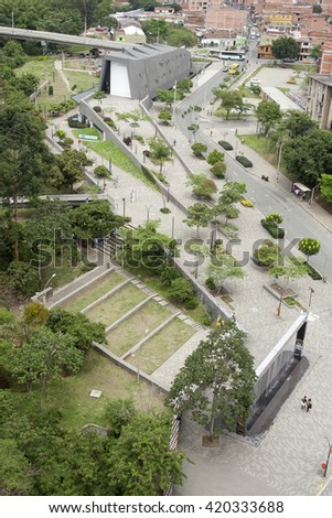 Medellin, Colombia - April 28, 2016. Museum house of memory. The House Museum of Memory born in the line Memory Care Program for Victims of Armed Conflict - stock photo
