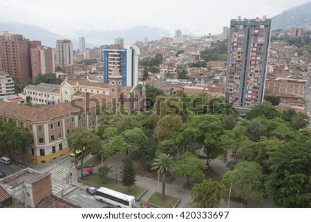 Medellin, Colombia - April 28, 2016. View of downtown Boston Park City.