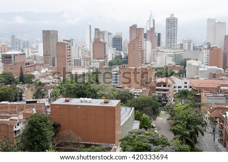 Medellin, Colombia - April 28, 2016. View of the city. Medellin is Colombia's second largest city with a population of 2.5 million. - stock photo