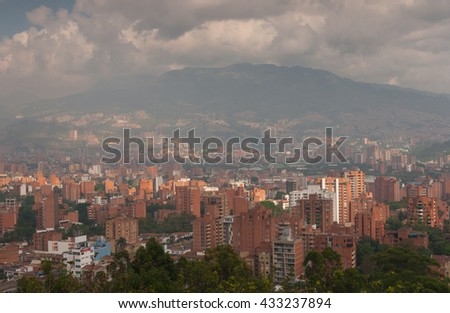 MEDELLIN, COLOMBIA - JANUARY 19, 2014:  Panoramic view on partly clouded Medellin, the second-largest city in Colombia on January, 19, 2014, Medellin, Colombia