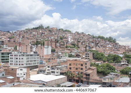 "Medellin - Colombia, June 18 2016. Overview of the quarter El Salvador. ""El Salvador"" neighborhood, located in the town 09 center in the eastern sector of the city of Medellin."