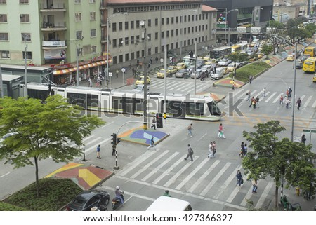 Medellin - Colombia on May 26, 2016. The tram Medellin is a means of transport railway, urban electric passenger and operating in the city of Medellin. It consists of a 4.3 km light rail line.