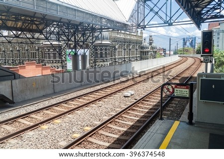 MEDELLIN, COLOMBIA - SEPTEMBER 4, 2015: Elevated metro station Parque Berrio in Medellin.