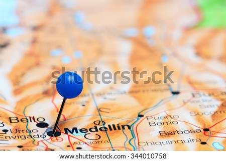Medellin pinned on a map of America  - stock photo