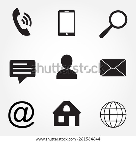 Media and communication icons set. Contact symbols: phone, envelope, home, globe, magnifying glass, speech bubble, human silhouette. - stock photo