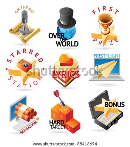 Media and entertainment icons. Heading concepts for document, article or website. Raster version. Vector version is also available. - stock photo
