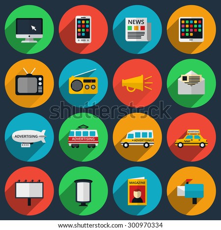 Media and information channels icons with long shadows. Web marketing, email and television, radio and internet, media content, newspaper and magazine - stock photo