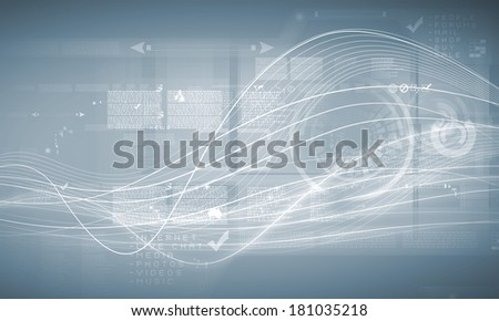 Media background image with icons and binary code - stock photo