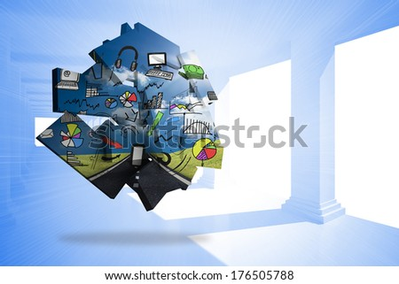Media brainstorm on abstract screen against bright blue room with windows