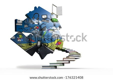 Media brainstorm on abstract screen against steps made out of books with open door