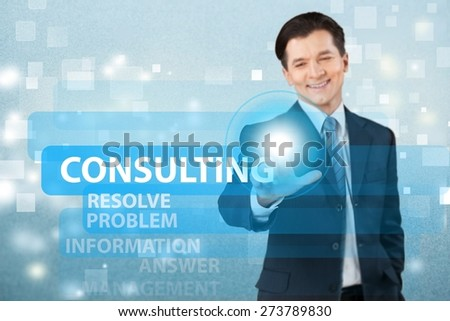 Media. Business man choosing for social media marketing - stock photo