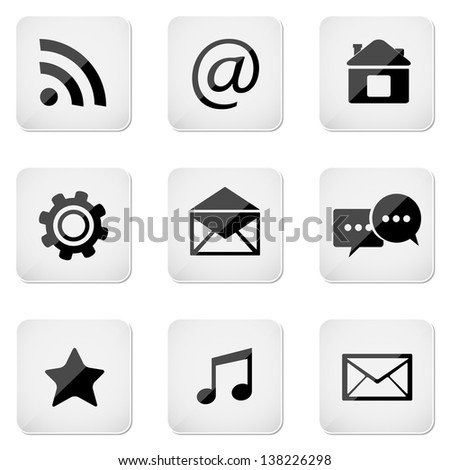 Media buttons set, email icons isolated on white
