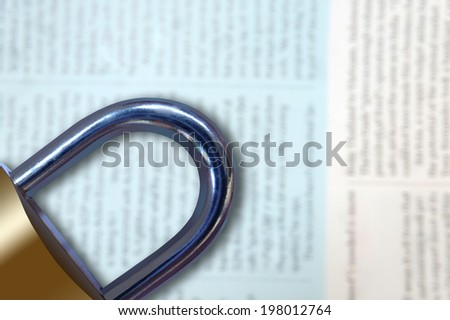 Media censure concept/image on a blurry news background - stock photo