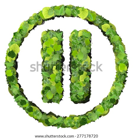 Media control pause icon made from green leaves isolated on white background. 3D render. - stock photo