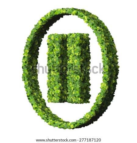 Media control pause icon, made from green leaves isolated on white background. 3D render. - stock photo
