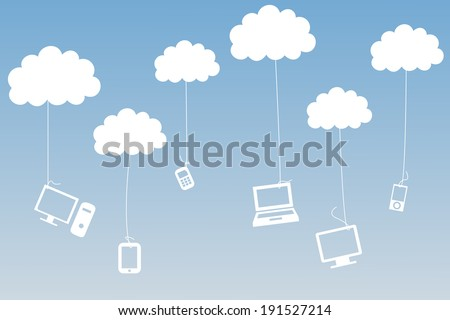 Media devices hanging from clouds on blue background - stock photo