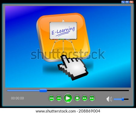Media Player E-Learning - stock photo