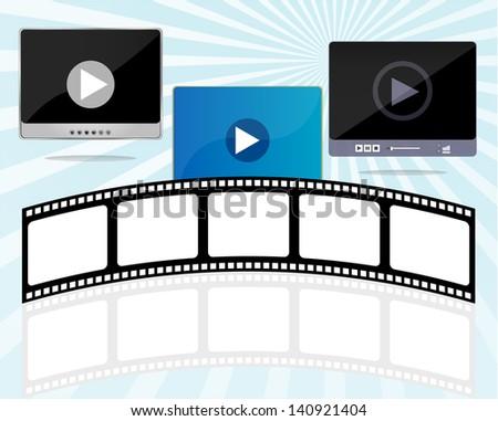 media player set with cinema film strips, raster - stock photo