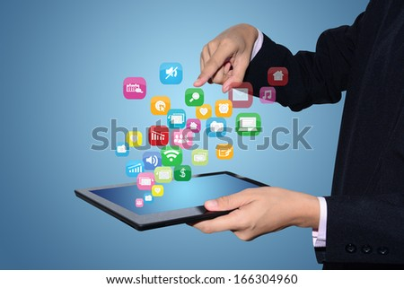Media technology illustration with tablet PC and icons