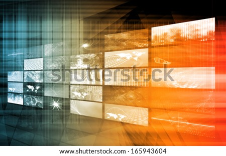 Media Telecommunications Concept with Video Wall Art - stock photo